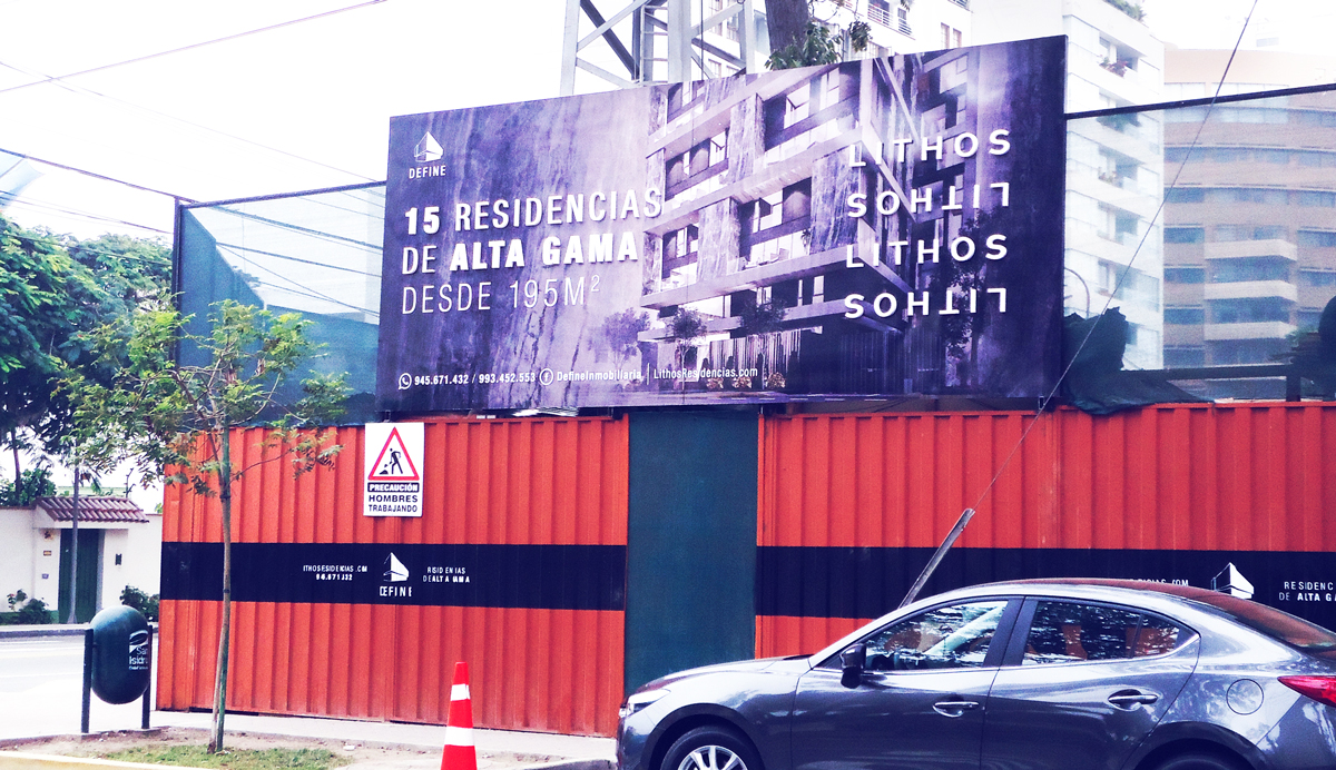 Define inmobiliaria Lithos Valla publicitaria Panel publicitario Publicidad exterior Brandeo lima peru