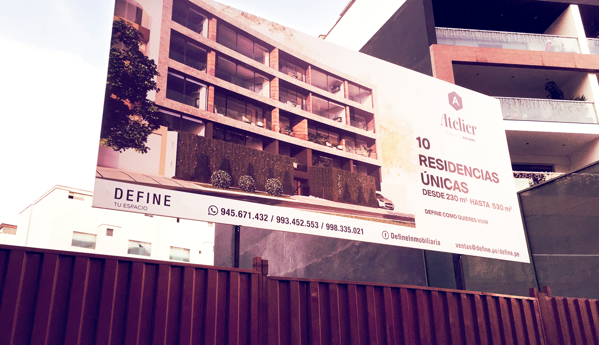 Define inmobiliaria Atelier Valla publicitaria Panel publicitario Publicidad exterior Brandeo lima peru